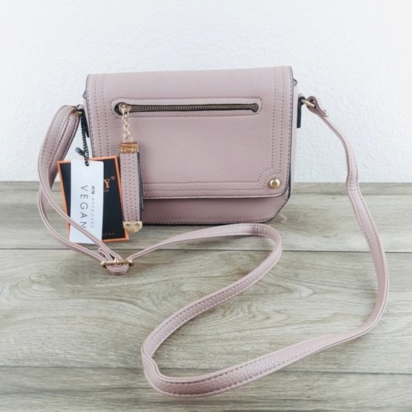 Handbags - Mauve Mini Crossbody Bag Vegan Leather